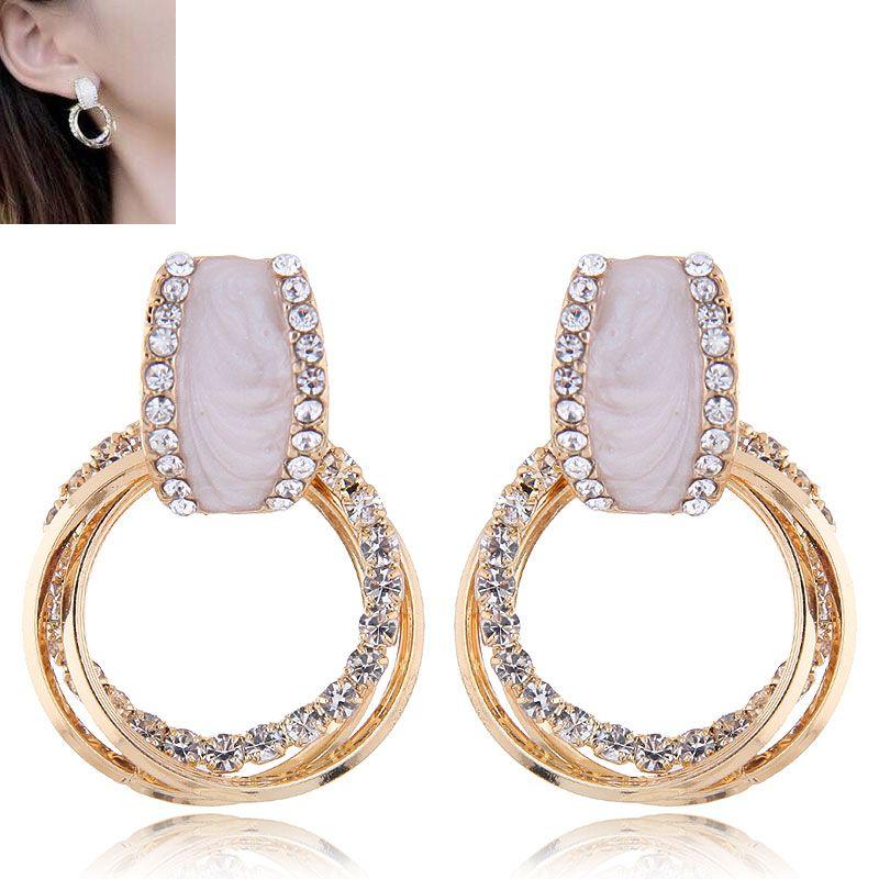 Fashion jewelry metal flash diamond simple wild hoop earrings NHSC202450
