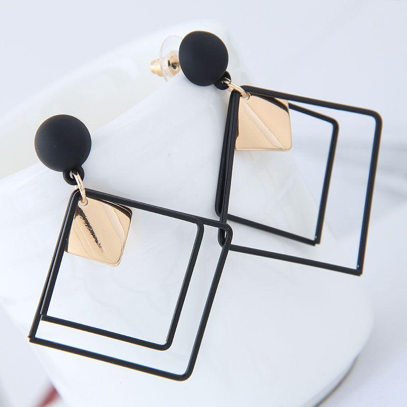 Fashion jewelry Korean fashion metal simple geometric square earrings NHSC202448