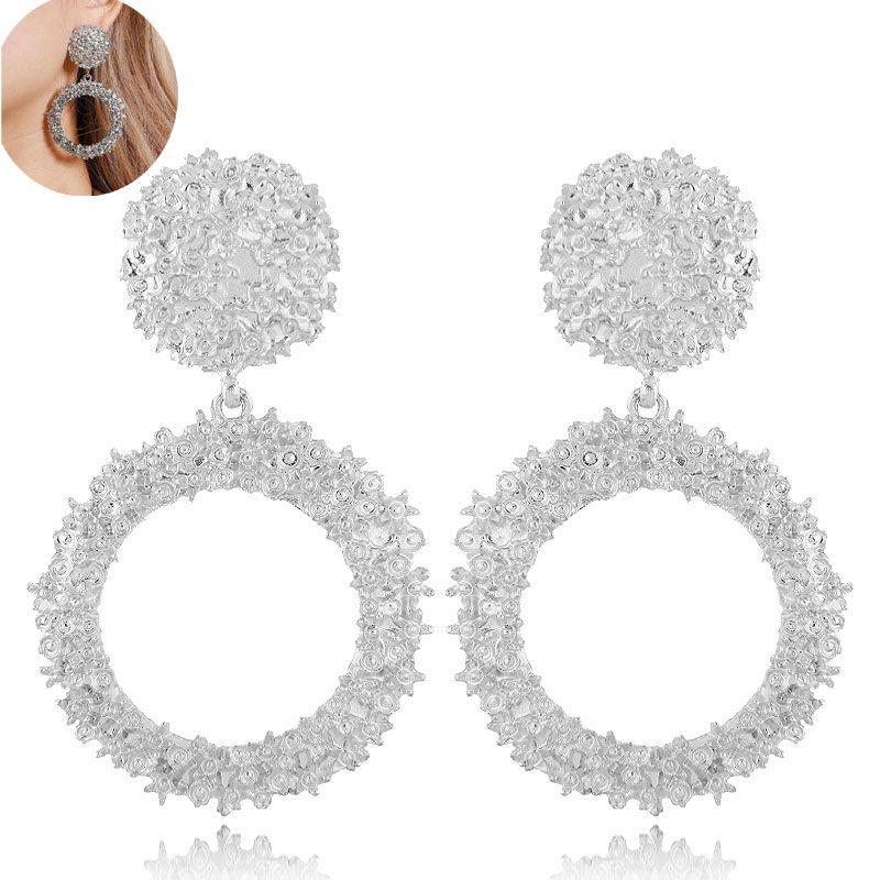 Fashion jewelry metallic simple circle exaggerated earrings NHSC202440