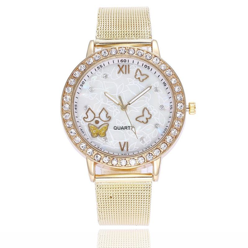 New Gold Ladies Diamond Mesh Watch with Cute Butterfly Pattern Quartz Mesh Watch Wholesale NHSY201988