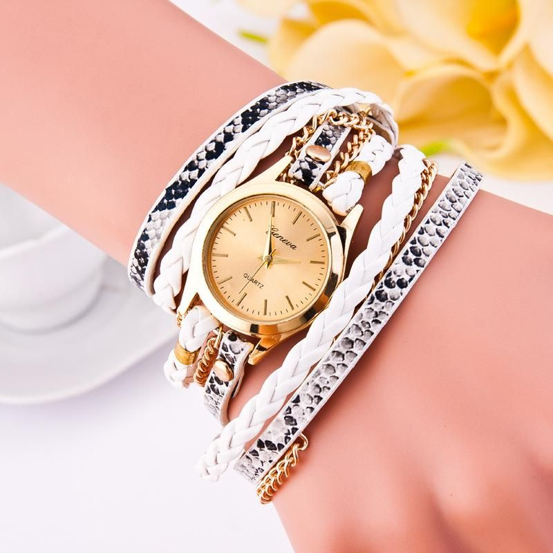 New leopard woven ladies watch PU round bracelet watch wholesale NHSY201989
