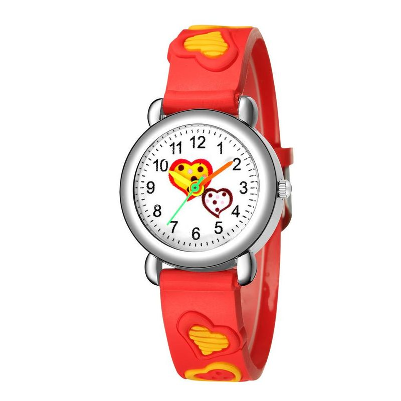 3D embossed peach heart plastic band student watch sweet cute love children watch NHSY202000
