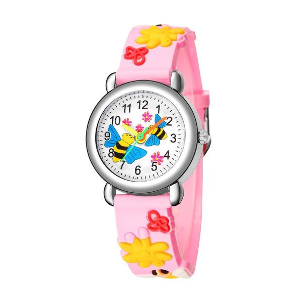 Cute Bee Flower Pattern Plastic Band Quartz Watch Girl Watch Wholesale NHSY202001