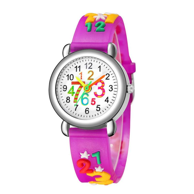 3D embossed color band children watch cute digital face plastic band quartz watch boy girl student watch NHSY202002