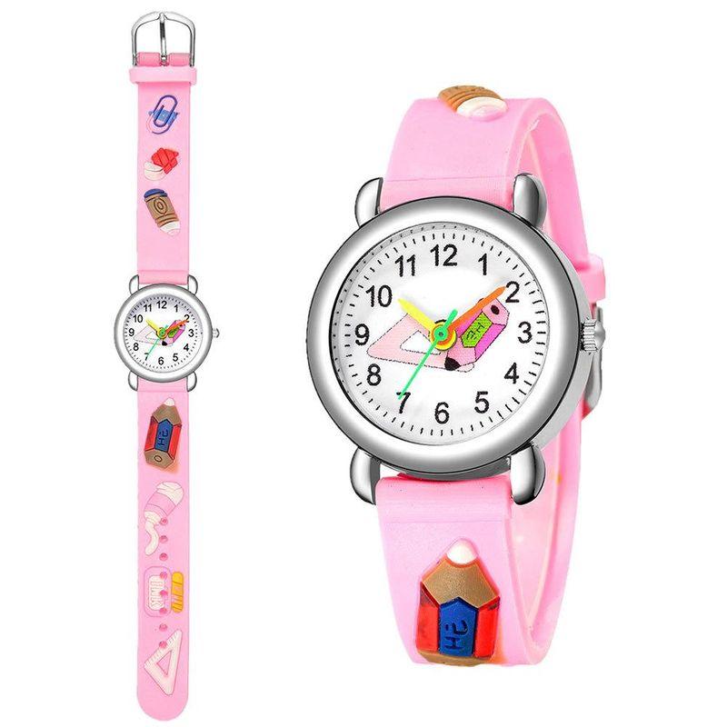 Cute Pencil Pattern Plastic Band Quartz Watch Color Boy Girl Watch NHSY202010