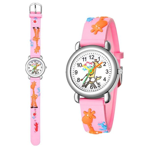 3D embossed peach heart plastic band student watch cute fawn watch for men and women NHSY202013