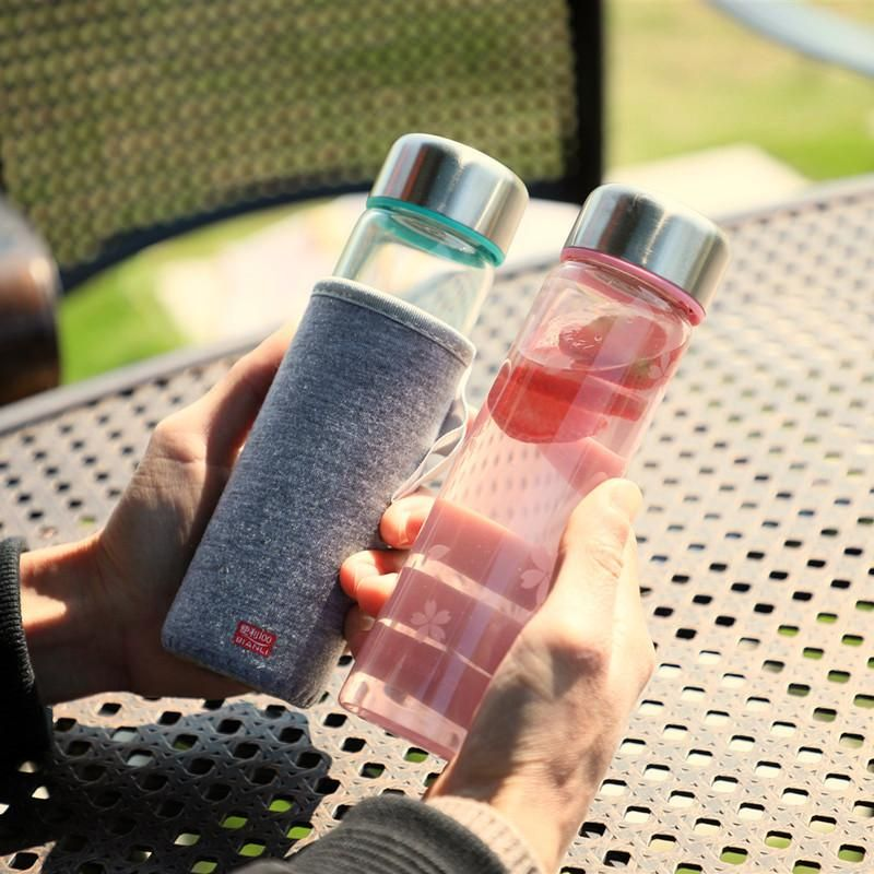 Korean glass creative student tea cup water cup portable sports hand cup NHtn202052