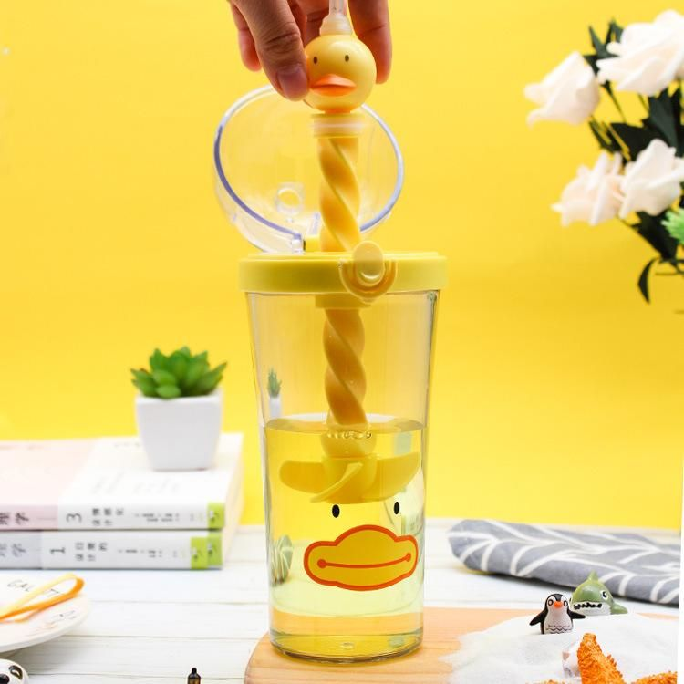 Yellow duck water cup stirring cup creative animal piggy cup cute cute pet straw plastic cup NHtn202055