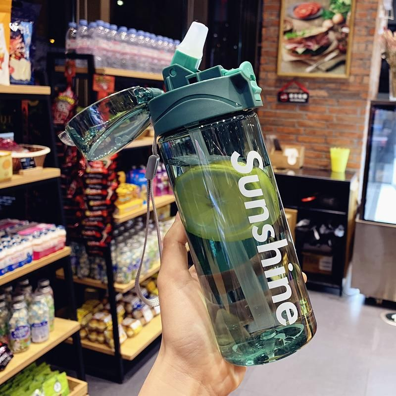 Korean plastic cup sports outdoor leak-proof portable water bottle students drinking cup adult straw cup NHtn202057