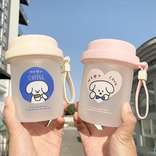 Cute little white glass dog portable handle cup student couple water cup NHtn202066's discount tags