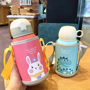 Cartoon children's vacuum cup male and female primary school students vacuum stainless steel straw cup kindergarten baby portable water cup NHtn202070's discount tags