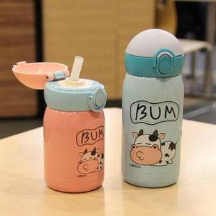 Stainless steel straw cup portable mini vacuum cup student cartoon children cup NHtn202071's discount tags