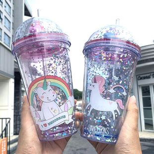 Simple Korean little pony cup lid sequin plastic water cup portable drinking cup student straw cup NHtn202076's discount tags