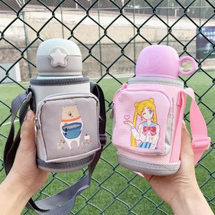 Children's cartoon cute stainless steel 316 insulated cup baby sippy cup with cup set portable water cup NHtn202080's discount tags
