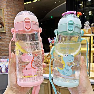 Korean cute creative three-dimensional dinosaur plastic cup children straw drinking cup baby outdoor anti-fall water cup NHtn202087's discount tags