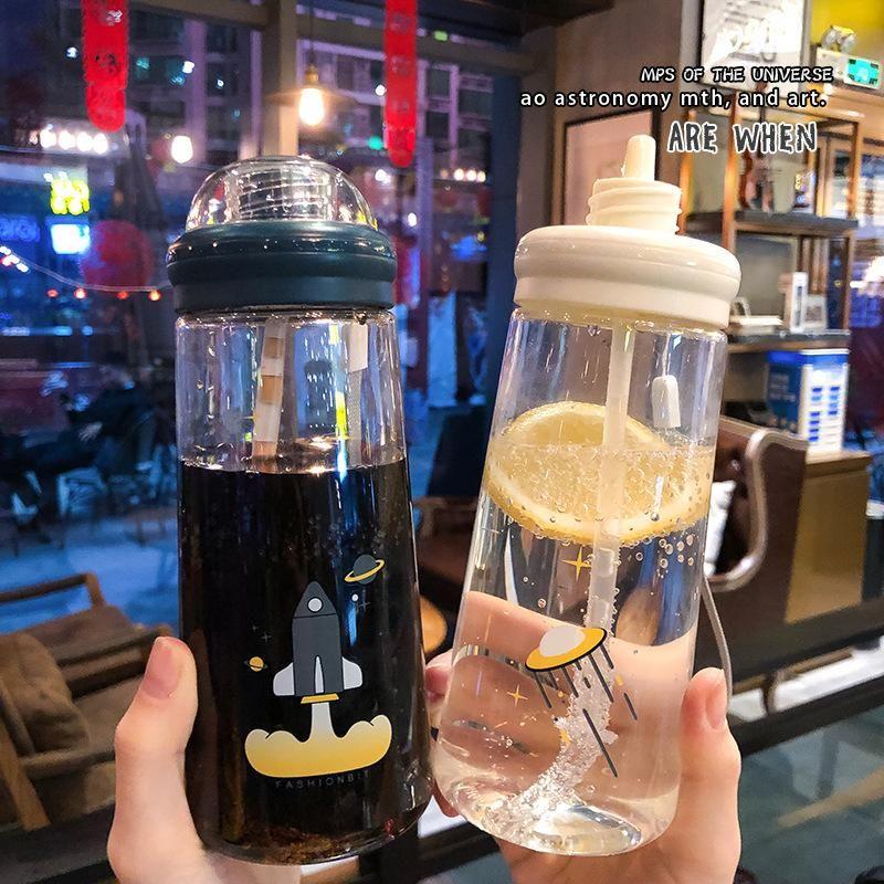 Korean spaceship plastic straw cup cute portable handy water cup NHtn202088
