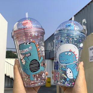 Fashion sequin straw plastic water cup large capacity portable straw cup student office universal water cup NHtn202093's discount tags