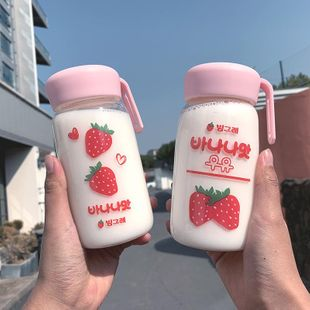 Cartoon cute big belly cup sweetheart strawberry chubby glass student drinking cup couple models NHtn202098's discount tags