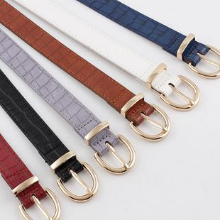Korean new crocodile pattern gold buckle belt ladies decorative pin buckle wild jeans thin belt NHPO202145's discount tags