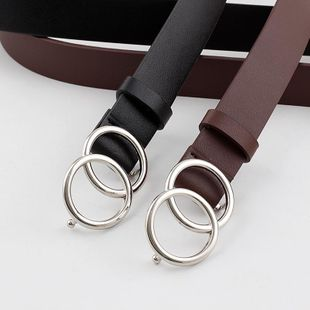 Double loop buckle belt women fashion wild pants belt dress belt ladies belt NHPO202149's discount tags