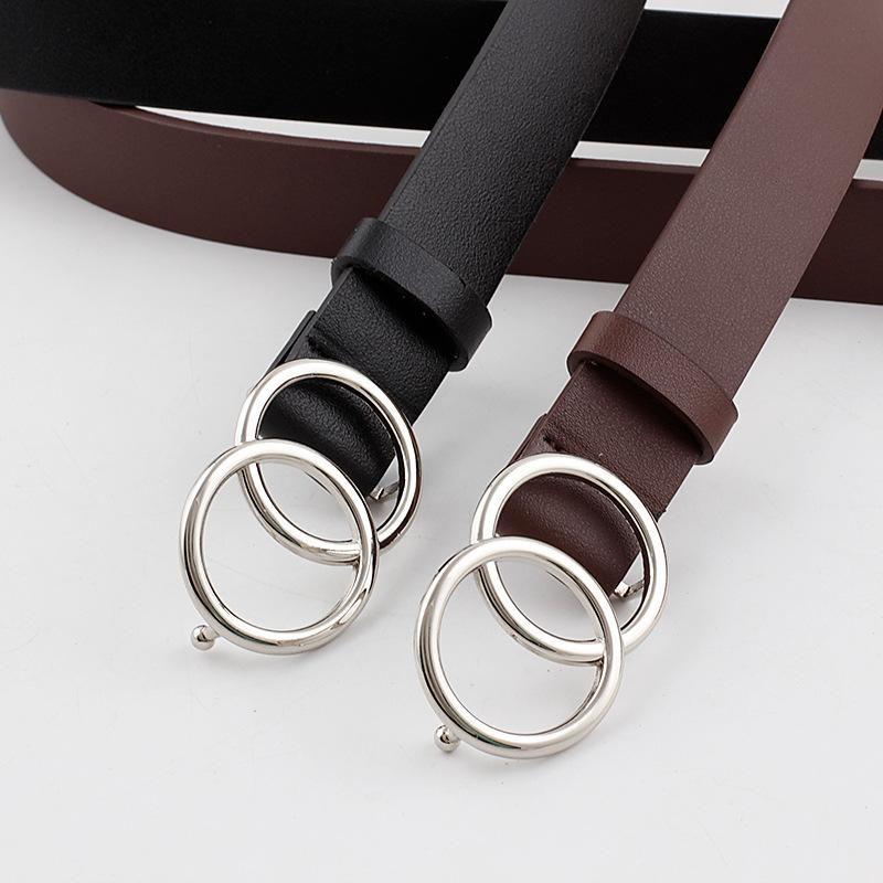 Double loop buckle belt women fashion wild pants belt dress belt ladies belt NHPO202149