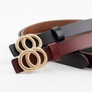 Double loop buckle small belt ladies plate buckle leather thin belt twolayer cowhide womens casual fashion belt NHPO202150