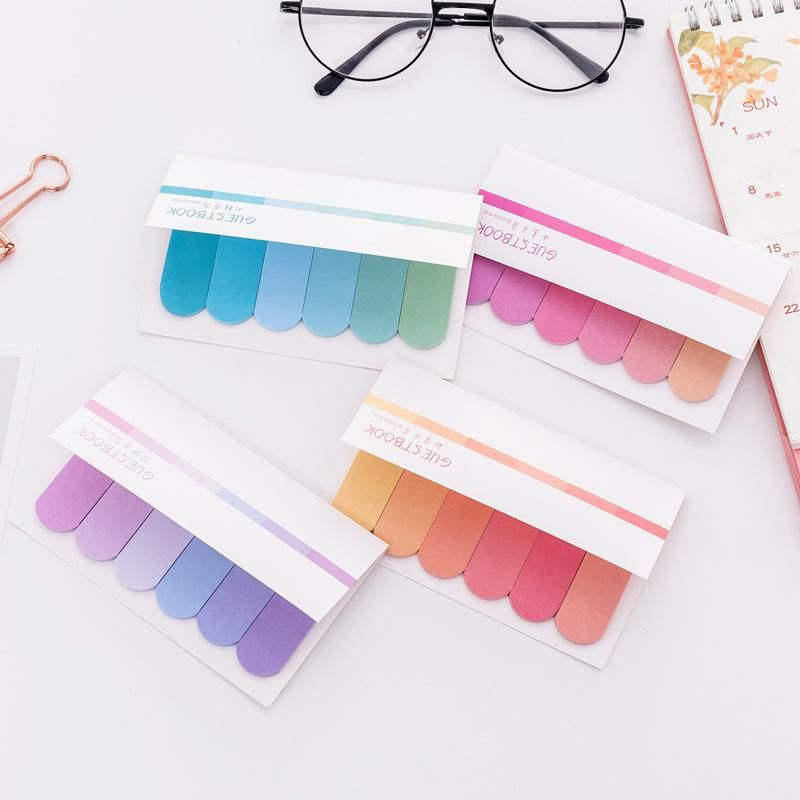 Korean stationery creative six color gradient post-it notes office learning memo notes NHZE202193