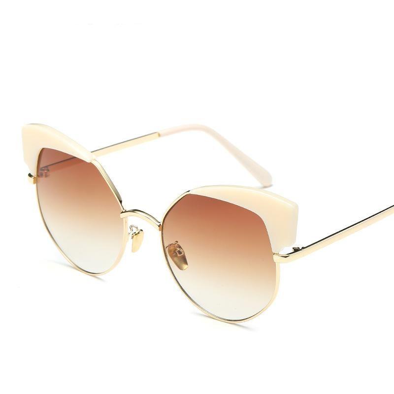 Korean simple metal trim large frame sunglasses street fashion sunglasses NHFY202136