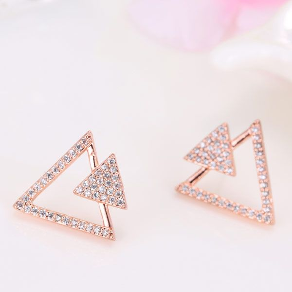 Fashion jewelry Korean fashion sweet OL triangle zircon earrings NHSC202439