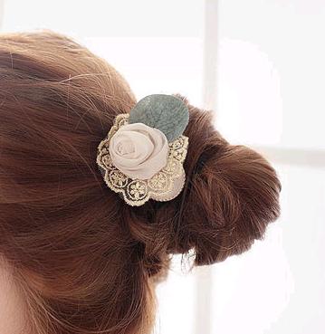 Korean fashion lace silk leaves rose flower hair ring cheap hair rope NHSC202431