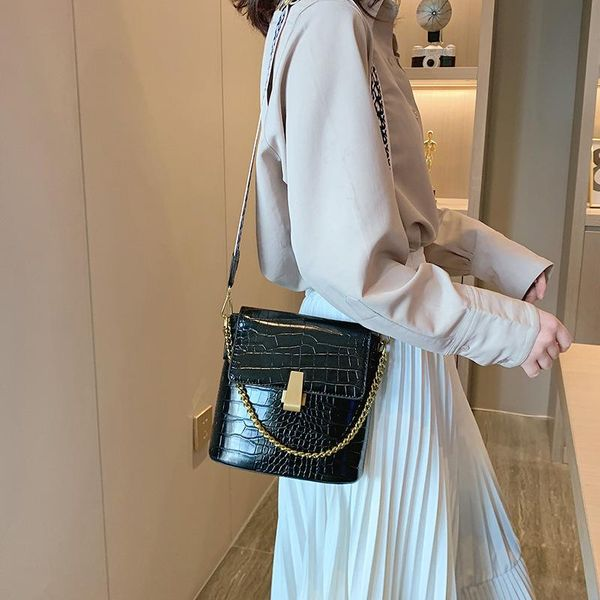 Bags for Women New Korean Fashion Crocodile Crossbody Bag Shoulder Bucket Bag cheap NHTC202242