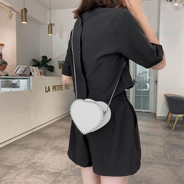Small bag women bag new fashion messenger bag chic chain heart-shaped shoulder bag NHTC202360
