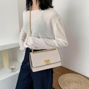 Women's new fashion wild crocodile pattern messenger bag simple chain small square bag wholesales yiwu NHTC202391's discount tags