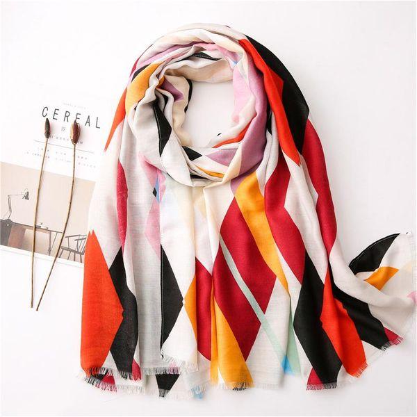 Fashion geometric pattern scarf spring and summer new cotton and linen silk scarf sun shawl women NHGD202407