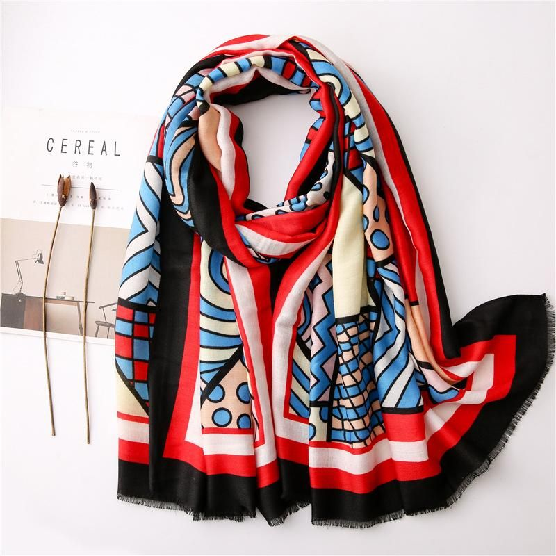Casual style scarf Korean women spring and autumn cotton and linen feel blue geometric animal long shawl NHGD202408