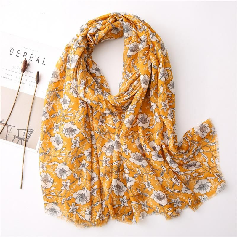 New spring and summer silk scarf cotton linen gardenia print scarf women beach towel wild sun shawl dual-use NHGD202412
