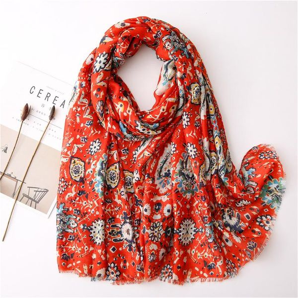 Cotton and linen scarf color soft red cashew flower spring and autumn scarf shawl fringed sunscreen scarf NHGD202416