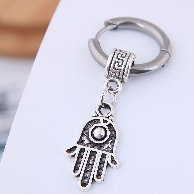 Earrings men's simple earrings simple titanium steel palm earrings wholesales yiwu NHSC202750