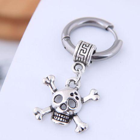 Earrings simple for men simple hip hop titanium steel skull earrings NHSC202749's discount tags