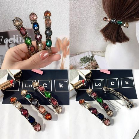 New Korean Couple Shaped Diamond Simple Wild Steel Clip Spring Clip Hair Accessories Cheap Headdress NHHI202486's discount tags