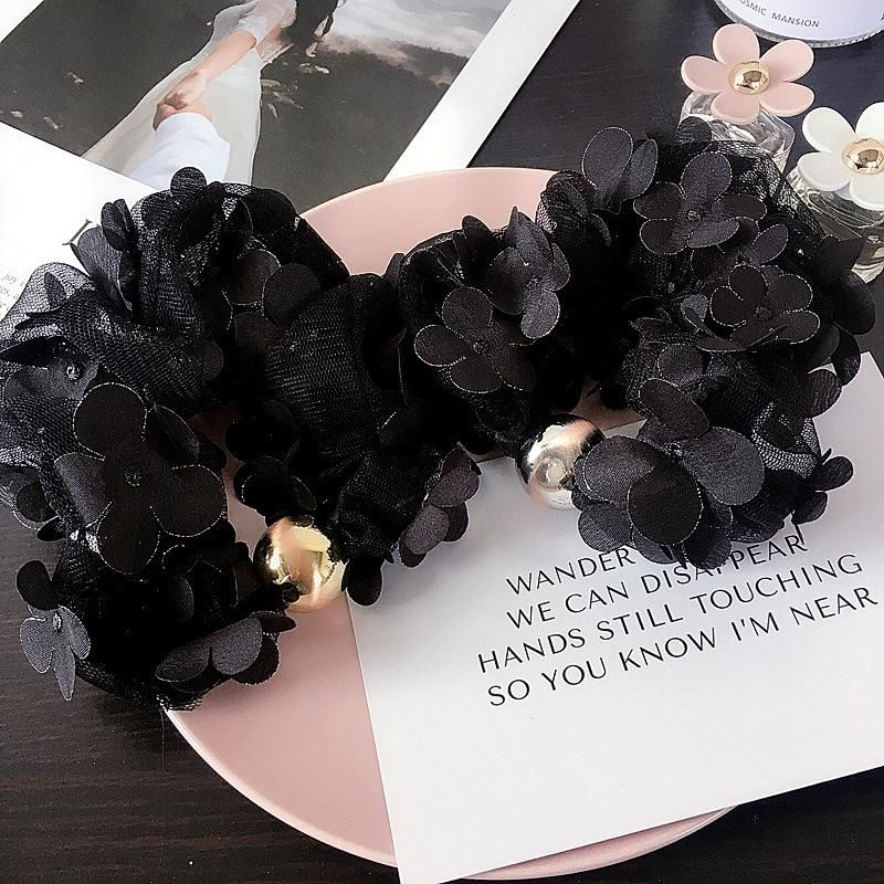 New Korean version of black net yarn three-dimensional flower drawing beads simple hair ring hair accessories suppliers china NHHI202488