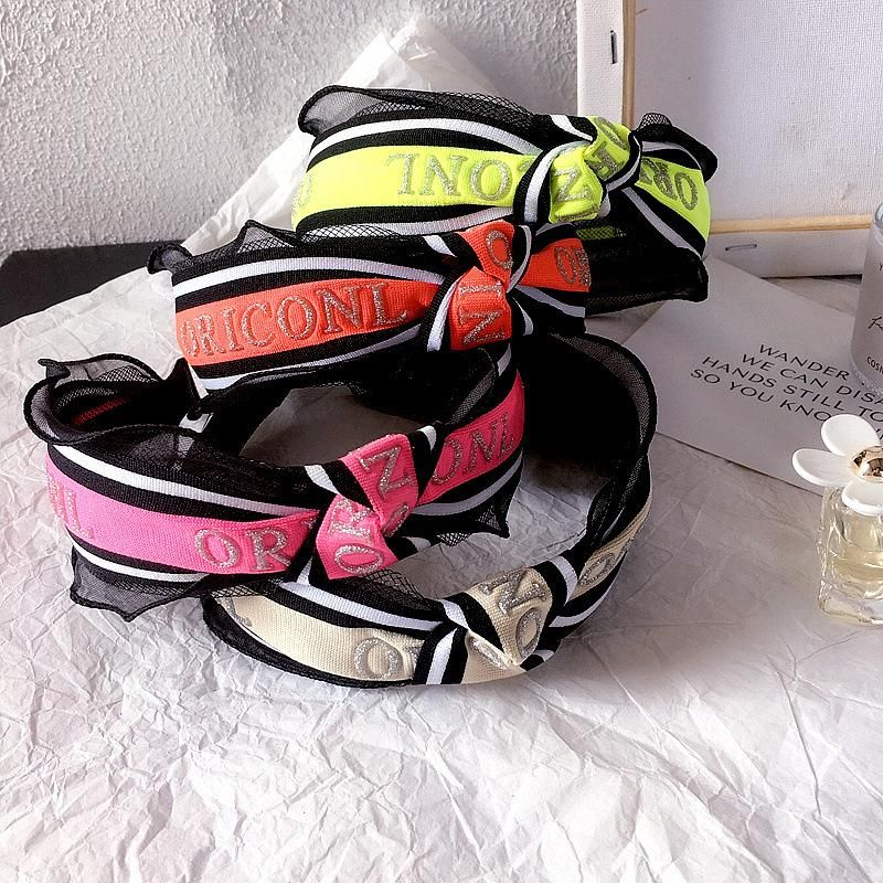 New European and American spring and summer fluorescent color top knot letter ribbon simple hair hoop hair accessories headdress NHHI202499