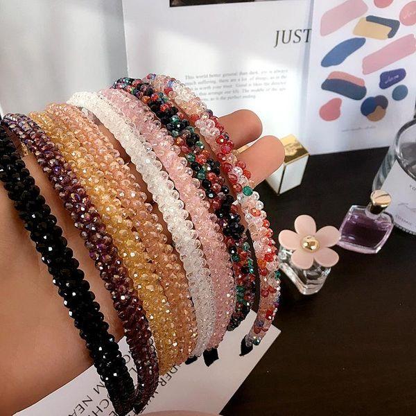 Korean simple colored crystal hair hoop suppliers china NHHI202501