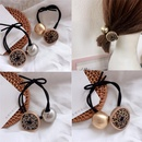 New simple round buckle gold pearl leopard pattern wild cheap elastic band hair accessories women NHHI202504