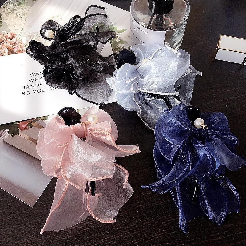 New wild double-sided organza bow grab clip hair clip cheap headgear women NHHI202508