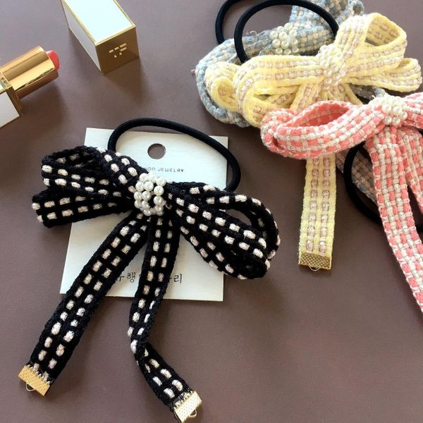 Spring new pearl woven fabric bow tassel wild cheap hair band rubber band wholesale NHHI202525