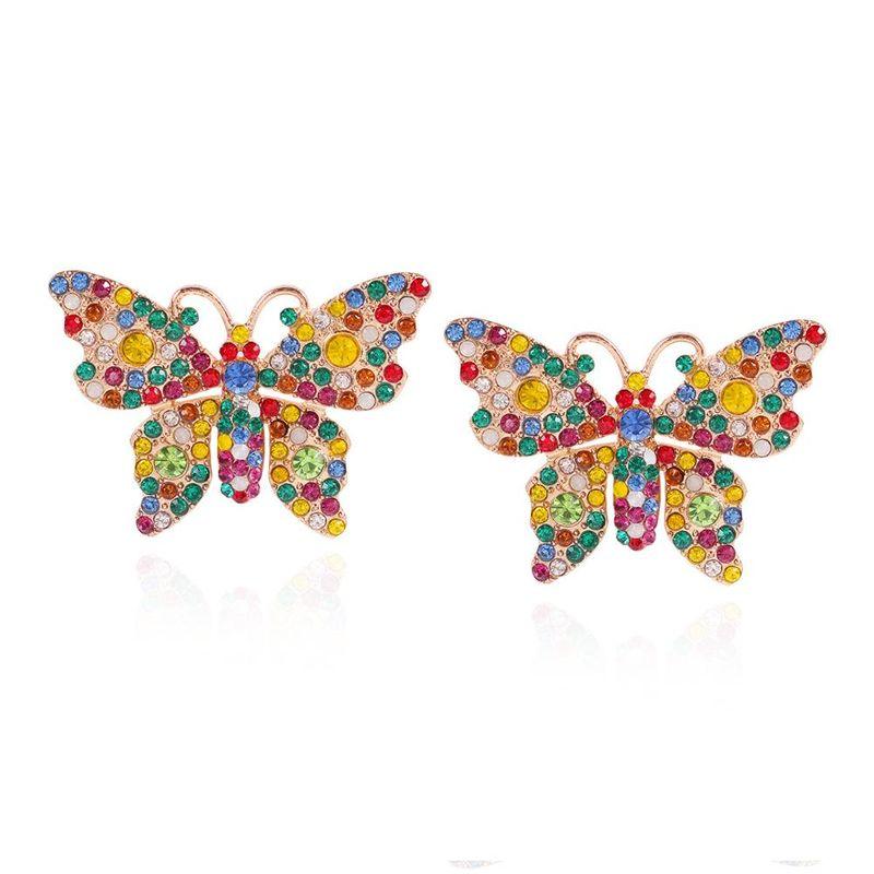 New full diamond animal geometric butterfly earrings fashion color diamond super flash earrings women NHMD202539