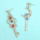 Pendientes de moda para mujer nuevos pendientes de Sailor Moon color de moda clave de luna de diamante pendientes izquierdos y derechos AB NHMD202544