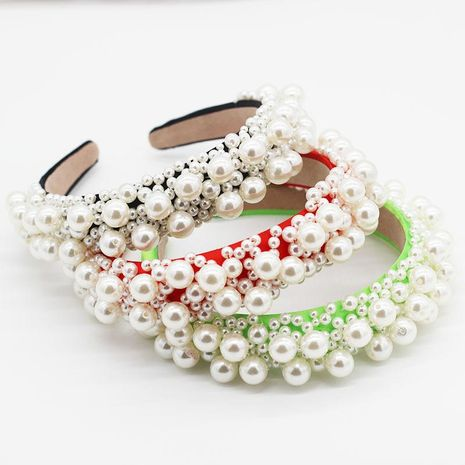 Fashion sponge hair hoop size pearl geometric prom hair accessory suppliers china NHWJ202548's discount tags