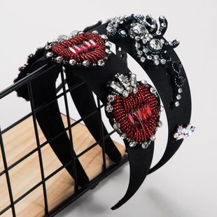 Fashion new Baroque retro wide-edged spring headband handmade beaded hair accessories suppliers china NHLN202553's discount tags